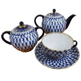 Сервиз чайный фарфор ИФЗ Тюльпан Кобальтовая сетка 81.20942 на 6 персон 14 предметов