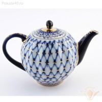 Чайник заварочный фарфор ИФЗ Тюльпан 80.00231 кобальтовая сетка 600 мл