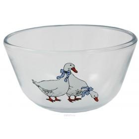 Миска стеклянная Ломоносовская керамикая Гуси МГ2-1 12 см*0,4 л