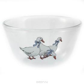 Миска стеклянная Ломоносовская керамика Гуси МГ2-2 14,5 см*0,65 л