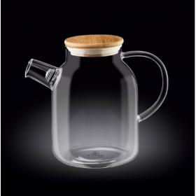 Чайник заварочный стекло Wilmax Thermo WL-888811 с бамбуковой крышкой 1700 мл