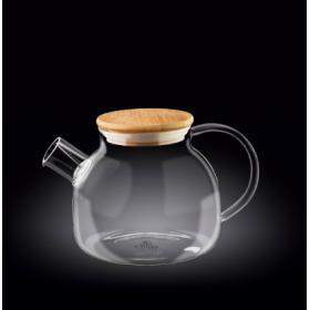 Чайник заварочный стекло Wilmax Thermo WL-888810 с бамбуковой крышкой 1150 мл