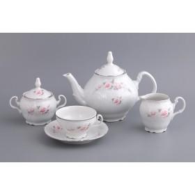 Чайный сервиз  фарфор Bohemia Бледные розы Е5396021_чс отводка платина на 6 персон 9 предметов