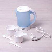 Чайник электрический пластик нержавеющая сталь KAMILLE 1718В голубой 0,6 л
