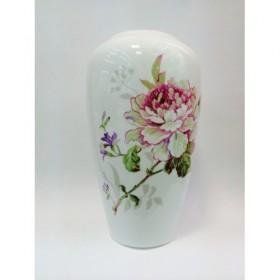 Ваза для цветов костяной фарфор Japonica Камелия JDWXHP003-2 белая рисунок цветы 25 см