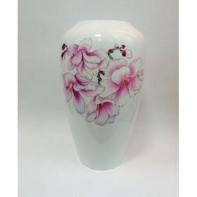 Ваза для цветов костяной фарфор Japonica Сакура JDWXHP003-1 белая рисунок цветы 25 см
