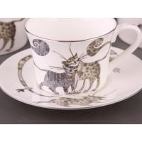 Чайный набор костяной фарфор Lefard Котики 264-296 Веселые коты на 6 персон 12 предметов 200мл