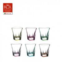 Набор стопок  для водки хрустальное стекло RCR 28255 цветные 6 шт 60 мл