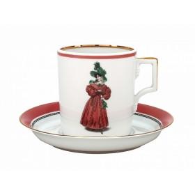 Подарочный набор - чайная пара фарфор ИФЗ Гербовая 81.25413 отводка золотом на 1 персону 2 предмета 220мл