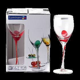 Фужеры для вина 270мл/4шт DRIP красные Luminarc С9510
