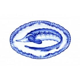 Блюдо овальное фарфор Гжельская мануфактура Вырезной край Рыба Г110203 350 мм