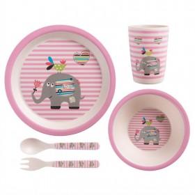 3860788 Детская посуда 5пр.бамб.Роз.слон