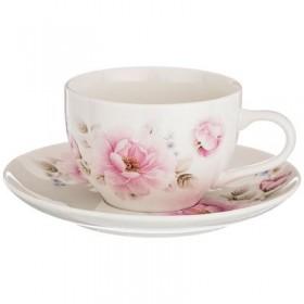 Чайный набор фарфор Lefard 577-140 Цветы на 1 персону 2 предмета 250 мл