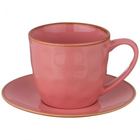 Чайный набор керамика Bronco 408-127 розовый на 1 персону 2 предмета 240 мл