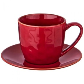 Чайный набор керамика Bronco 408-129 винный красный на 1 персону 2 предмета 240 мл