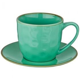 Чайный набор керамика Bronco Тиффани 408-128 зеленый на 1 персону 2 предмета 240 мл