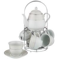 Чайный набор фарфор Lefard 389-504 на подставке на 6 персон 13 предметов чашка 220 мл / чайник 900 мл