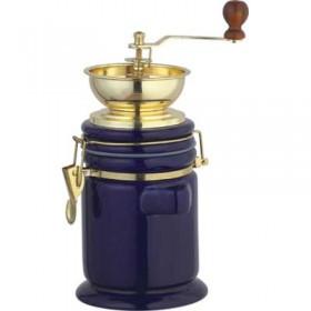 Кофемолка ручная Bekker ВК-2532 синяя керамическая воронка металлическая под золото