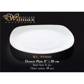 Тарелка десертная фарфоровая Wilmax WL-991001 квадратная 20 см
